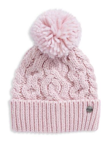 Rella Wool Knit Hi Rise Pom Pom Hat-PINK-One Size
