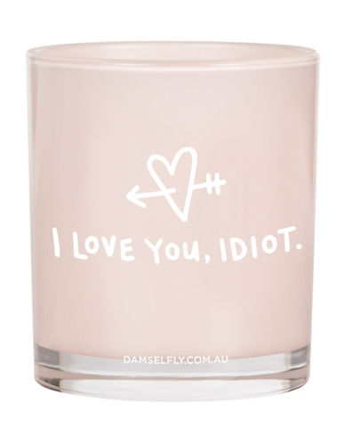 Damselfly I Love You Idiot Candle-PINK-Large