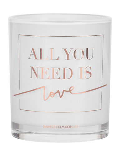 Damselfly All You Need Is Love Premium Quote Glass Candle-ROSE GOLD-Large
