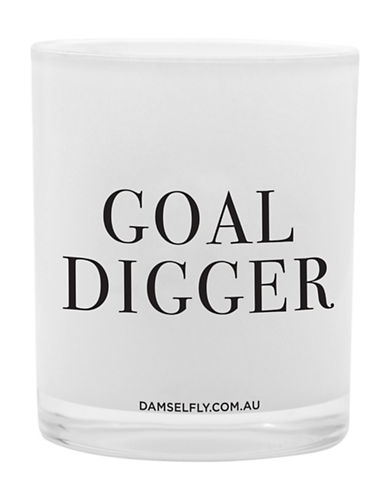 Damselfly Goal Digger Premium Quote Glass Candle-WHITE-Large