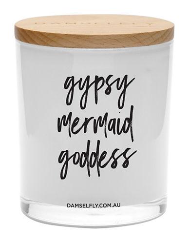 Damselfly Gypsy Goddess Mermaid Candle-WHITE-Large