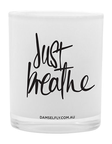 Damselfly Just Breathe Premium Quote Glass Candle-WHITE-Large