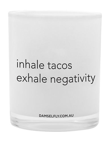 Damselfly Inhale Tacos Exhale Negativity Premium Quote Glass Candle-WHITE-Large