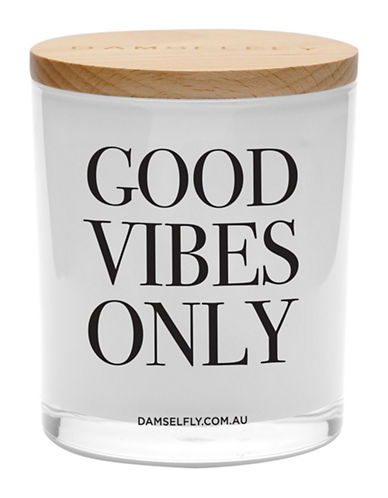 Damselfly Good Vibes Only Candle-WHITE-Large