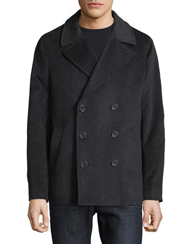 Black Brown 1826 Wool Peacoat-CHARCOAL-XXX-Large