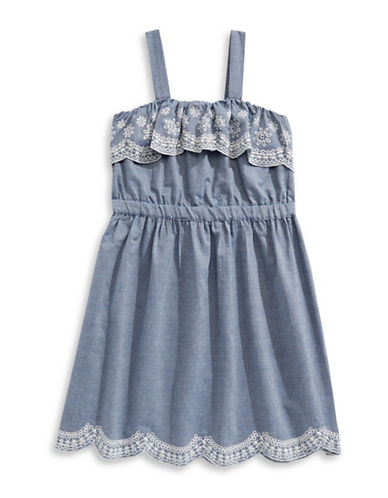 4ever Free Embroidered Chambray Fit-And-Flare Dress-BLUE-16