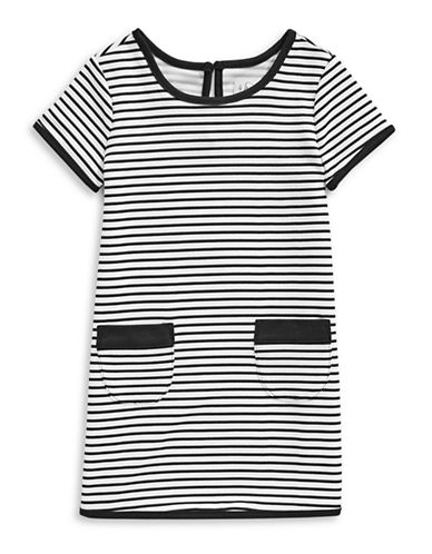 4ever Free Stripe-Stitch T-Shirt Dress-BLACK-6X