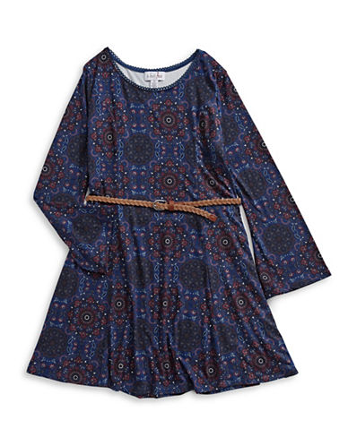 4ever Free Belted Kaleidoscope Print Dress-NAVY-9