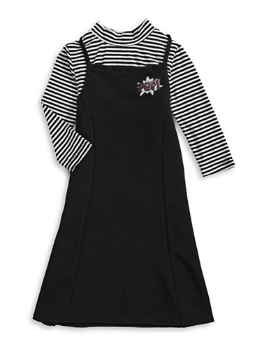 4ever Free Striped Top and Pinafore Dress Set-BLACK-12