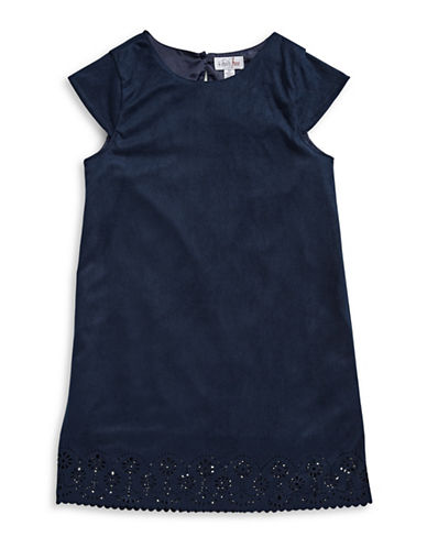 4ever Free Suede-Look Shift Dress with Laser Cuts-NAVY-16