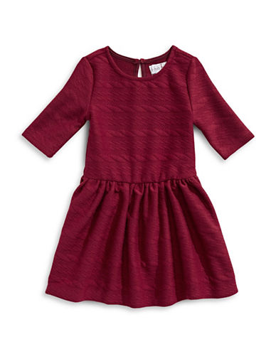 4ever Free Textured Knit Zip-Trim Dress-BURGUNDY-2