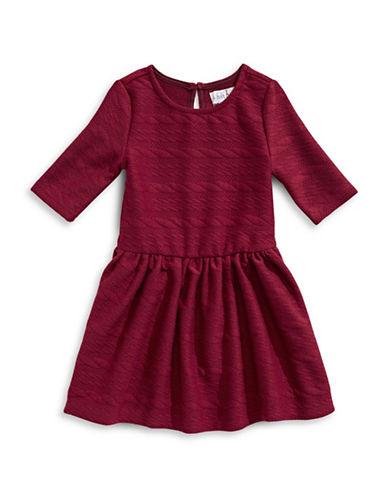 4ever Free Textured Knit Zip-Trim Dress-BURGUNDY-3