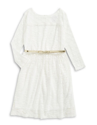 4ever Free Belted Embroidered Mesh Combo Dress-WHITE-12