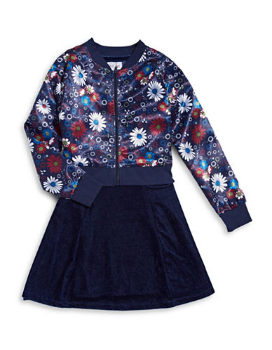 4ever Free Two-Piece Floral Bomber and Velvet Dress-NAVY-12