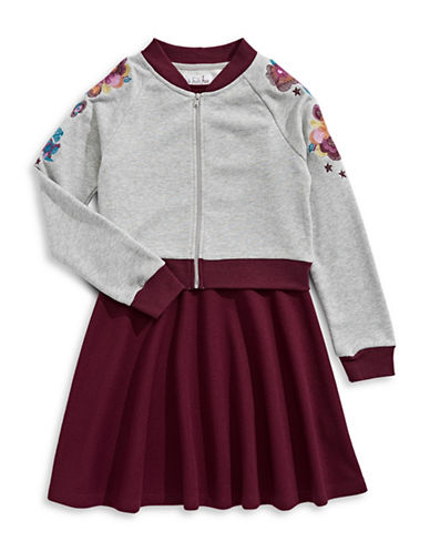 4ever Free Textured Dress with Embroidered Jacket-RED-10