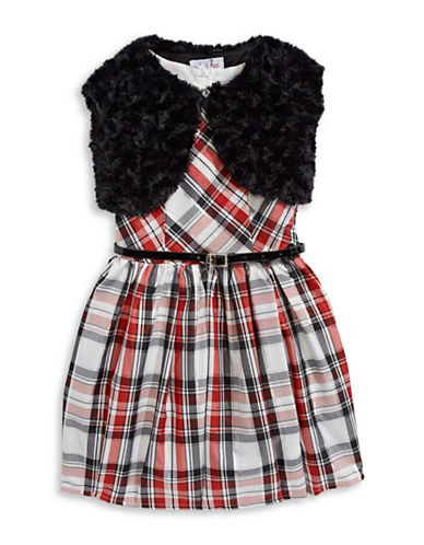 4ever Free Two-Piece Plaid Dress and Faux Fur Vest Set-RED-3