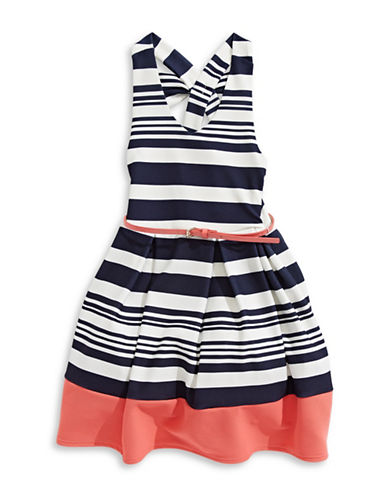 4ever Free Popcorn Pleated Dress-NAVY/WHITE-14