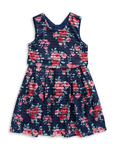 4ever Free Floral-Print Pleated Dress-NAVY/MARIN-7