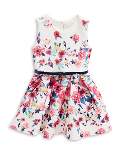 4ever Free Floral Pleated Dress-WHITE/BLAN-6X