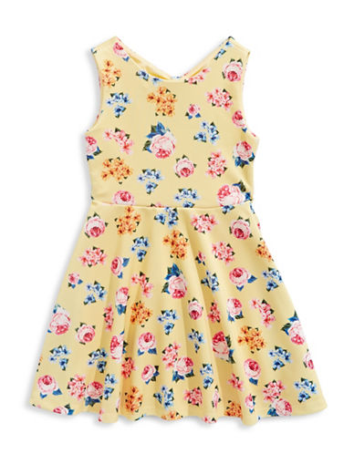 4ever Free Scuba Knit Floral Dress-YELLOW-16