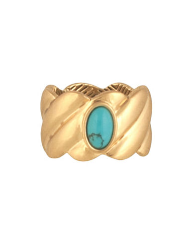 House Of Harlow 1960 Ribbed Valda Ring-TURQUOISE-7