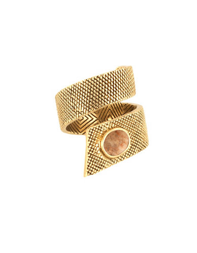 House Of Harlow 1960 Tanta Crosshatch Silk Stone Ring-BROWN-7