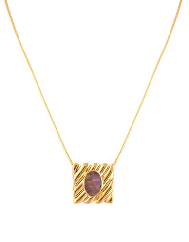 House Of Harlow 1960 Ribbed Valda Pendant Necklace-AMETHYST-One Size
