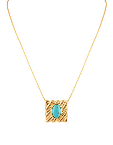 House Of Harlow 1960 Ribbed Valda Pendant Necklace-TURQUOISE-One Size