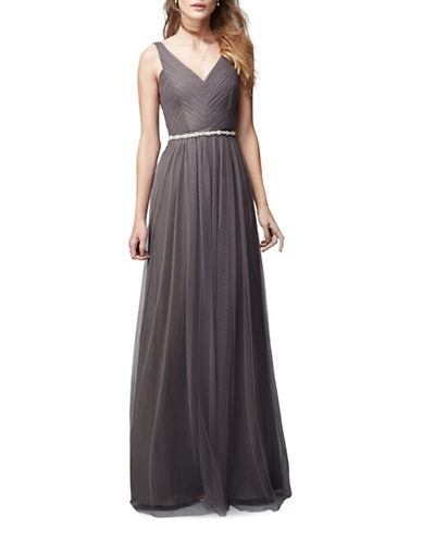 Monique Lhuillier Bridesmaids Pleated Tulle Gown-SLATE-2