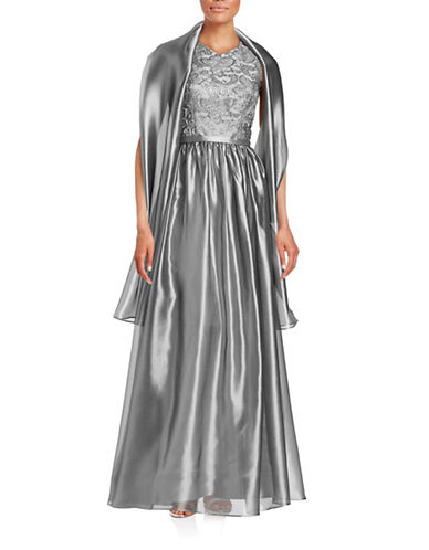 Theia Metallic Lace T-Back Ball Gown-SILVER-8