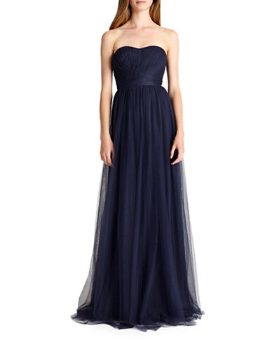 Monique Lhuillier Bridesmaids Convertible Strapless Tulle Bridesmaid Dress-NAVY-0