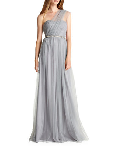Monique Lhuillier Bridesmaids Convertible Strapless Tulle Bridesmaid Dress-DOVE-16