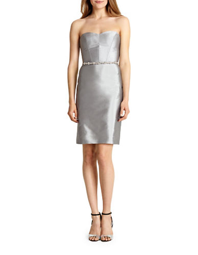 Monique Lhuillier Bridesmaids Taffeta Sweetheart Cocktail Dress-PLATINUM-12
