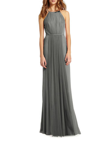Monique Lhuillier Bridesmaids Halter Chiffon and Tulle Gown-STEEL-4