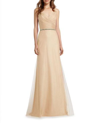 Monique Lhuillier Bridesmaids Spaghetti Strap Tulle A-Line Gown-SAND-6