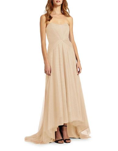 Monique Lhuillier Bridesmaids Strapless Sweetheart Hi-Lo Tulle Gown-SAND-4