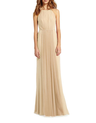 Monique Lhuillier Bridesmaids Halter Chiffon and Tulle Gown-SAND-4