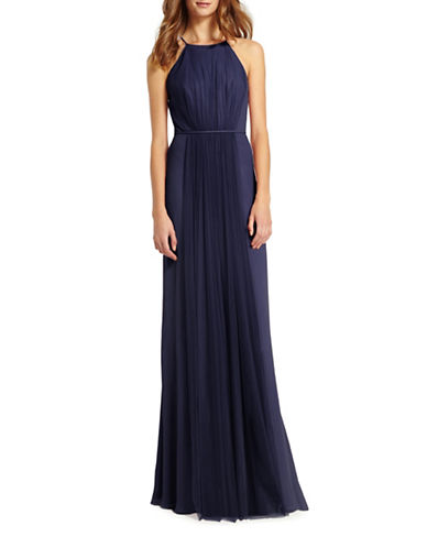 Monique Lhuillier Bridesmaids Halter Chiffon and Tulle Gown-NAVY ELECTRIC-10