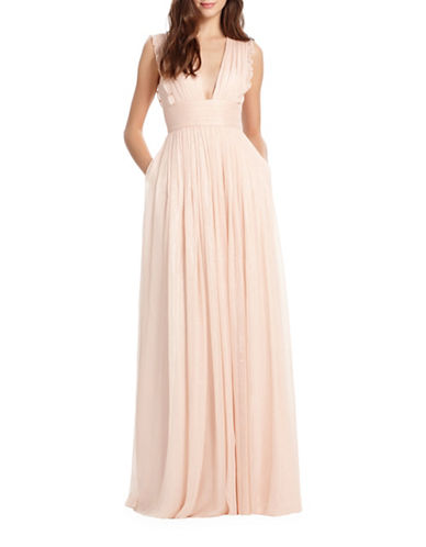 Monique Lhuillier Bridesmaids Lily Metallic Chiffon Gown-BLUSH-2