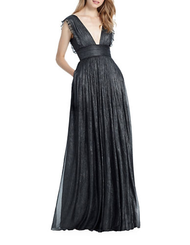 Monique Lhuillier Bridesmaids Lily Metallic Chiffon Gown-DARK CHARCOAL-14