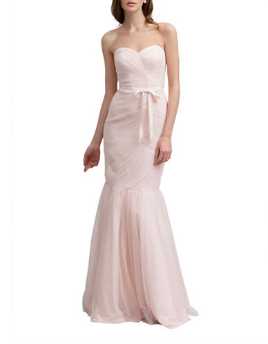 Monique Lhuillier Bridesmaids Strapless Tulle Trumpet Gown-BLUSH-12