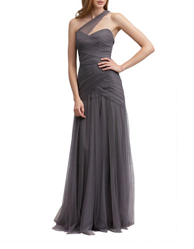 Monique Lhuillier Bridesmaids One Shoulder Tulle Gown-SLATE-2