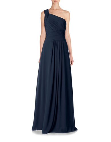 Monique Lhuillier Bridesmaids Long One Shoulder Chiffon Gown-BLUE-4