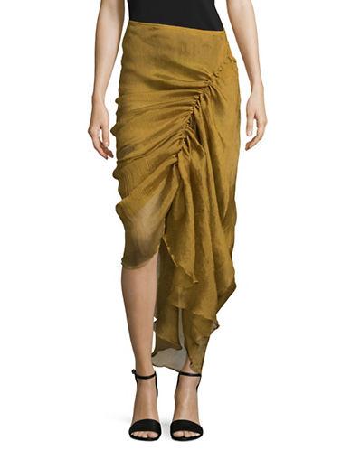 Beaufille Gaspra Asymmetrical Skirt-MUSTARD-2
