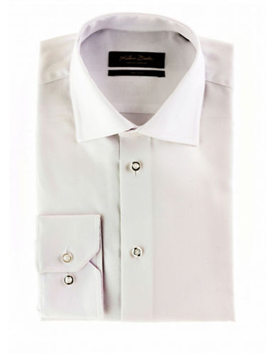Klauss Boehler Dry and Fly Dress Shirt with London Cut Away Collar-WHITE-17.5