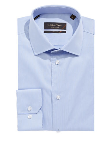Klauss Boehler Pinstripe Dry and Fly Dress Shirt-BLUE-14.5