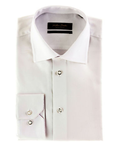 Klauss Boehler Dry and Fly Dress shirt with Berlin spread collar-WHITE-17.5