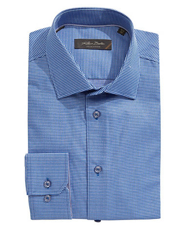 Klauss Boehler Long Sleeve Cotton Gingham Shirt-BLUE-15.5