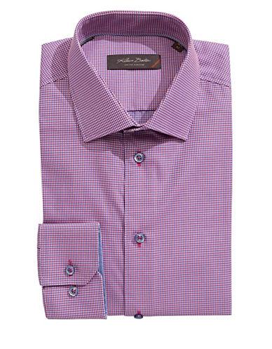 Klauss Boehler Long Sleeve Cotton Gingham Shirt-RED-16
