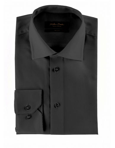 Klauss Boehler Dry and Fly Dress shirt with Berlin spread collar-BLACK-14.5